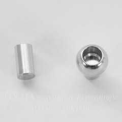 Замок для шнура 4 мм магнитный из 2х частей, 16х9 мм (цвет - платина)