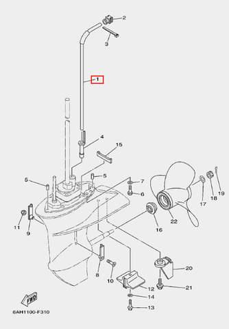 Трубка охлаждения для лодочного мотора F20 Sea-PRO (24-1)