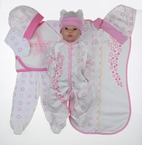 Набор одежды для новорожденного в роддом 7 предметов розовый