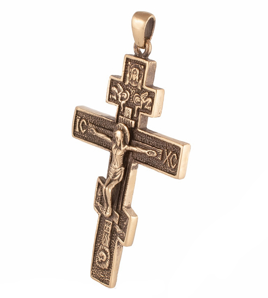 Большой крест тельник из бронзы RH00869