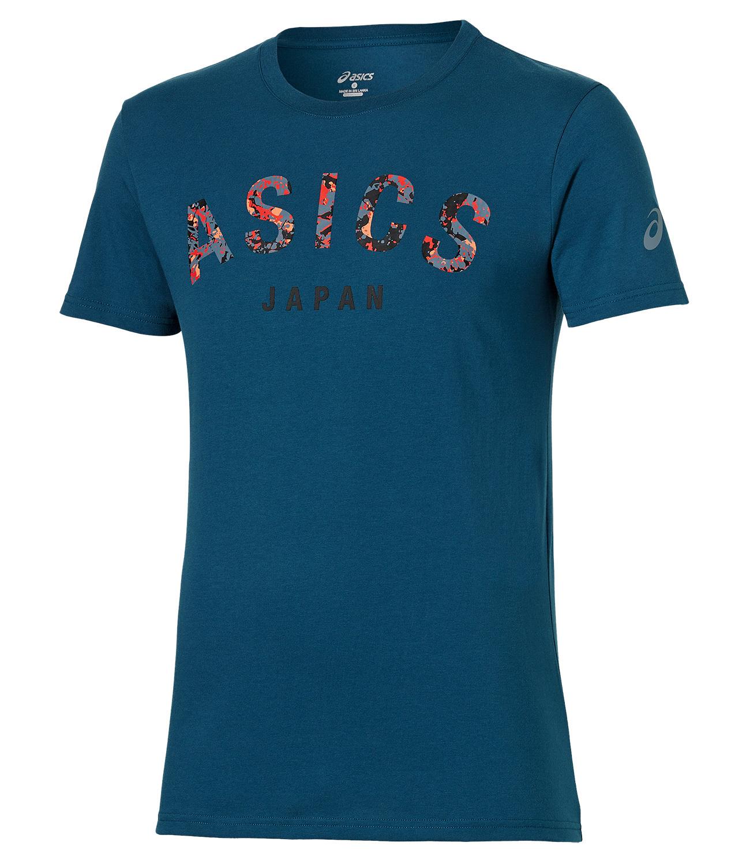Мужская футболка Asics Camou Logo SS Top (131529 0053) синяя фото