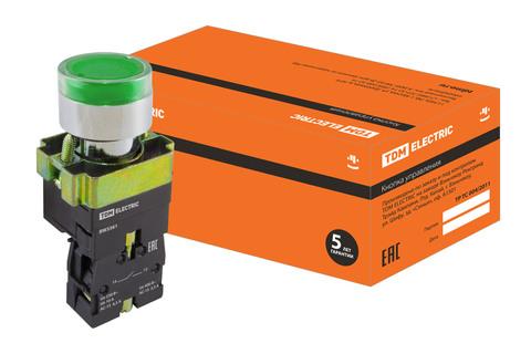 Кнопка BW3361 с подсветкой зеленый 1з TDM