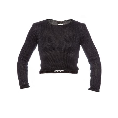 Стильный укороченный свитер антрацитового цвета от Chanel, 38 размер.