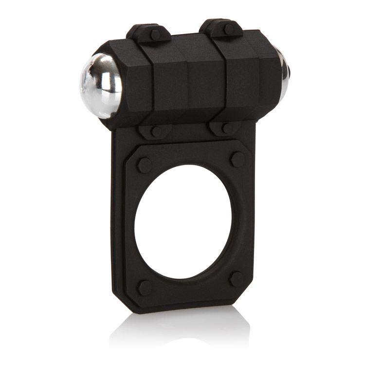 Эрекционные кольца: Чёрное эрекционное кольцо с вибропулей Silicone Lovers Gear Enhancer