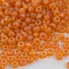 Бисер 8/0 Preciosa прозрачный радужный, оранжевый (кв. отв.)