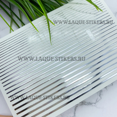 3D металлические наклейки полосы SILVER (гнутся)