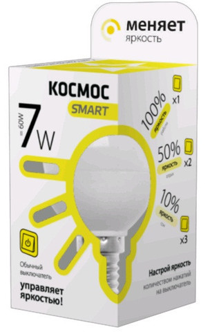 Лампа светодиодная КОСМОС SMART E27 7W 3000K