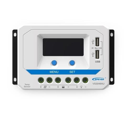 Контроллер заряда EPSolar VS3048AU (PWM, 30A, 12/24/48В, LCD дисплей, USB)