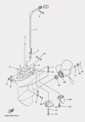 Демпфер трубки охлаждения для лодочного мотора F20 Sea-PRO (24-2)