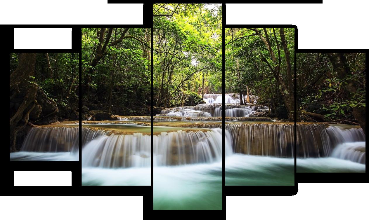 """Природа Модульная картина """"Водопад в джунглях"""" М942.png"""