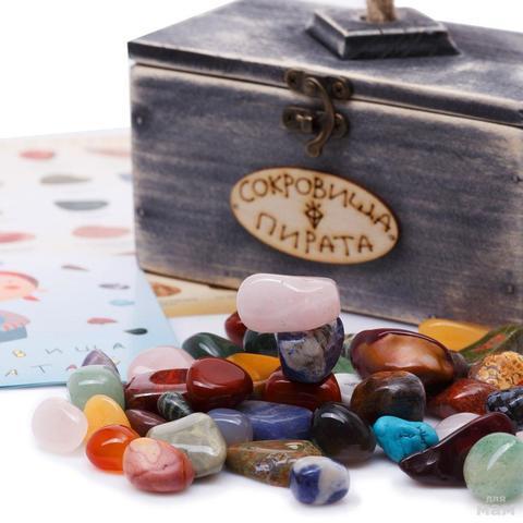 Набор самоцветов Сокровища Пирата N3 с сундуком, 14х8х9 см , 350г