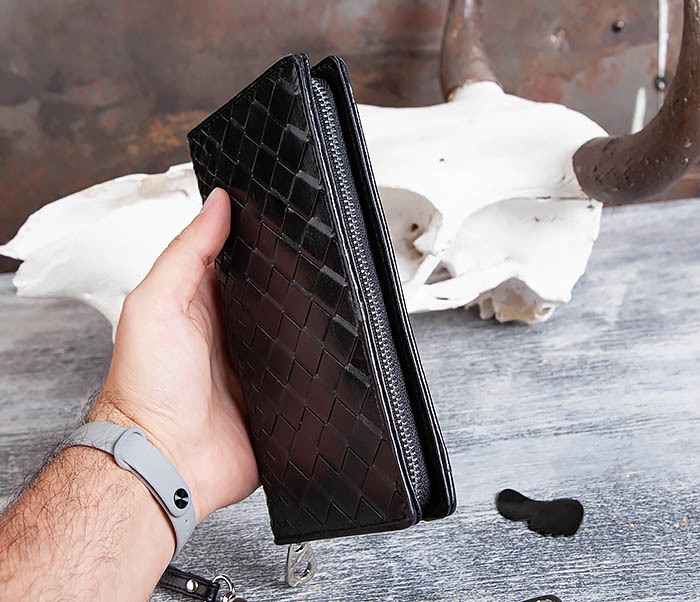 WL309-1 Мужской клатч на молнии из черной кожи фото 09