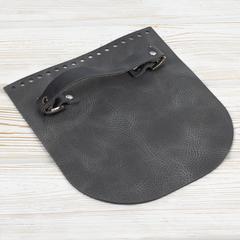 """Клапан для сумочки с ручкой кожаный """"Серый пулап"""""""