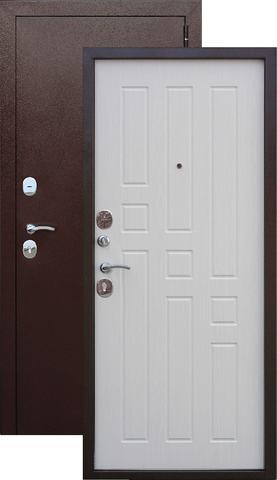 Дверь входная Гарда 8 мм , 2 замка, 1,2 мм  металл, (медь антик+ясень белый)
