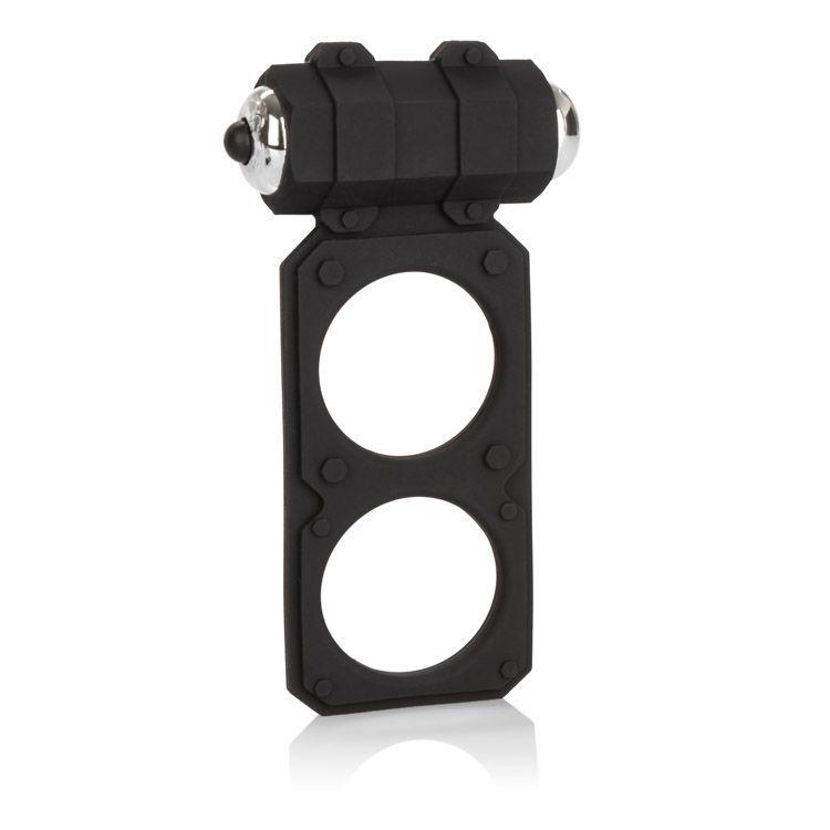 Эрекционные кольца: Чёрное эрекционное кольцо с вибрацией и подхватом мошонки Silicone Lovers Gear Figure 8 Enhancer