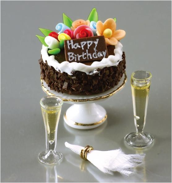 Открытки с днем рождения торт и шампанское
