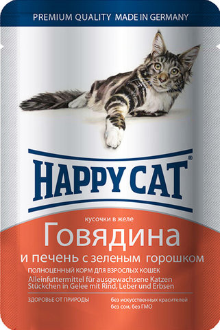 Влажный корм (пауч) Happy Cat chunks in jelly Beef and liver with green peas