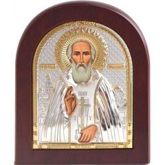 Сергий Радонежский. Икона в серебряном окладе.