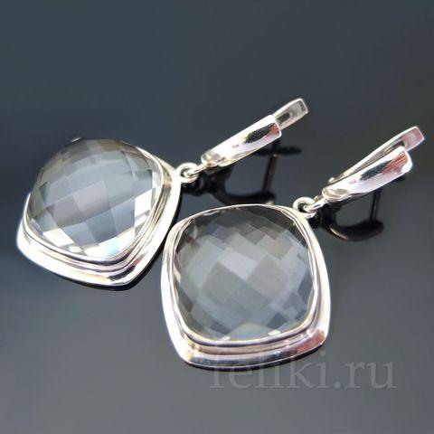 серьги серебряые с натуральным горным хрусталем_крупный гранёный кварц_фото