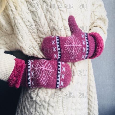 Варежки шерстяные вязаные со снежинками (цвет: малиновый)