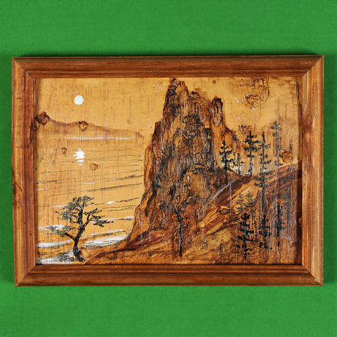Картина на бересте Байкальский пейзаж 2