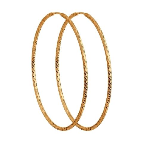 Серьги-конго Ø 35 мм из золота 585 пробы с алмазными гранями  арт.140140