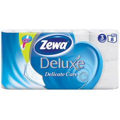 Бумага туалетная Zewa Deluxe 3сл бел 100%цел втул 20,7м 150л 8рул/уп 5366