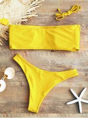 Купальник раздельный бандо жёлтый
