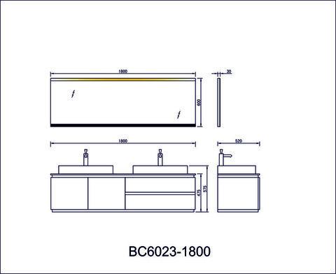 Мебель для ванной Orans BC-6023-1800 180x52см. с двойной раковиной схема
