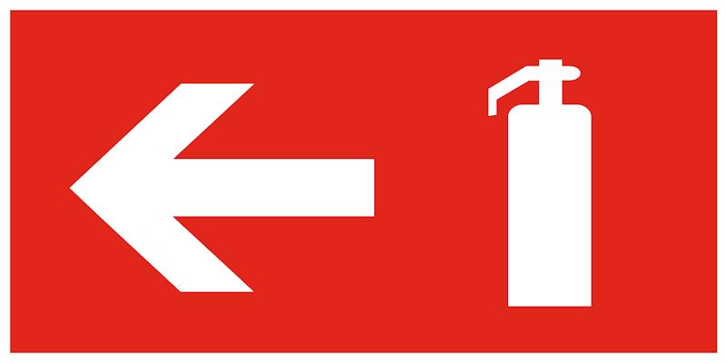 F32 комбинированный знак пожарной безопасности - пожарный знак огнетушитель налево