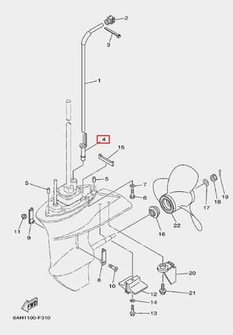 Сальник трубки охлаждения для лодочного мотора F20 Sea-PRO (24-4)