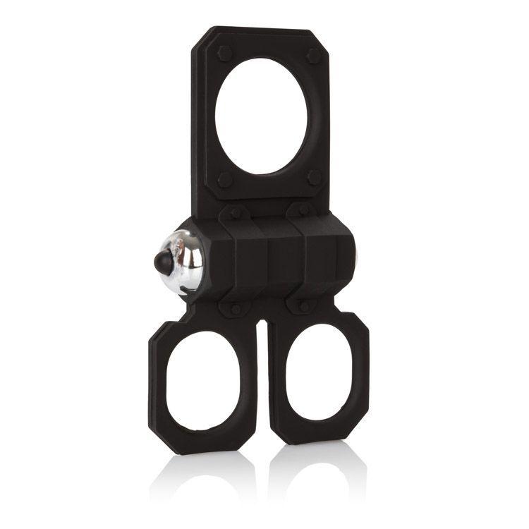 Эрекционные кольца: Эрекционное кольцо с вибрацией Silicone Lovers Gear Ball Spreader Enhancer с подхватами для мошонки