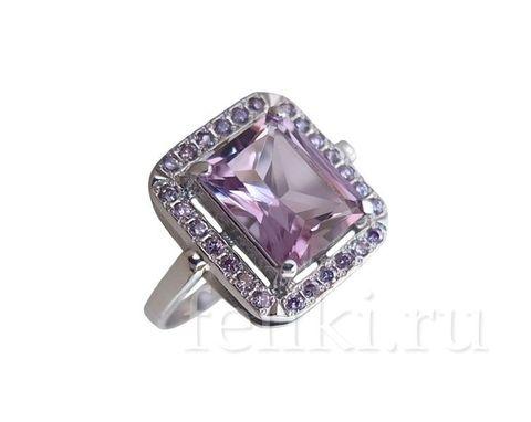 кольцо из серебра с крупным аметистом 8*10 мм