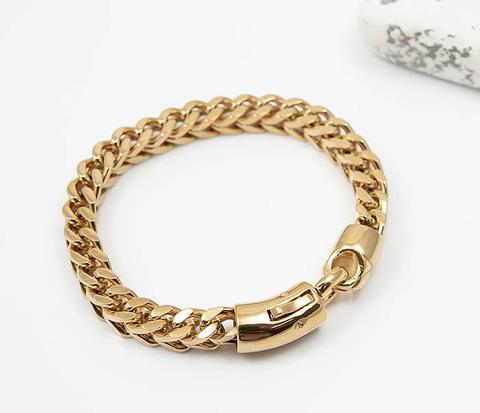 Мужской золотистый стальной браслет (21 см)