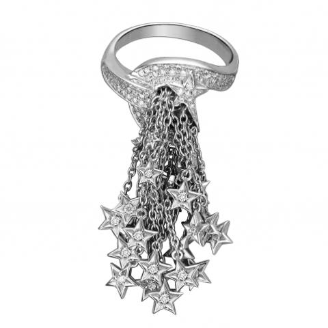 Кольцо Кисточка из белого золота 585 пробы с бриллиантами