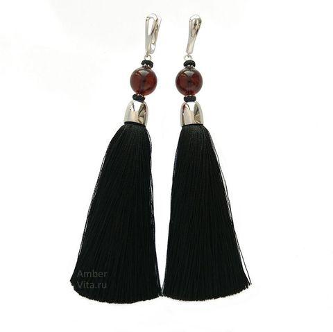 серьги кисти чёрные с янтарём