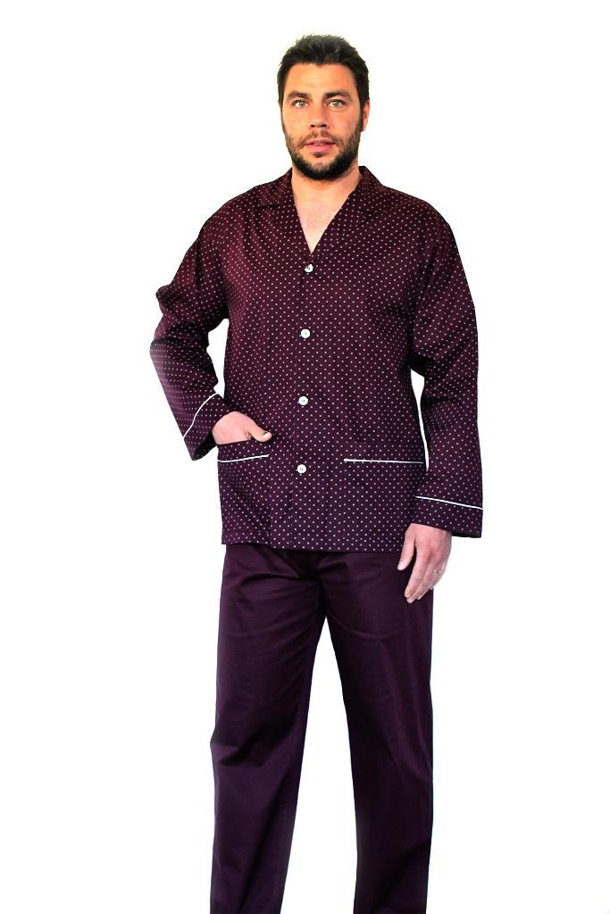 Классическая мужская пижама бордового цвета B&B