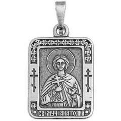 Святой Анатолий. Нательная икона посеребренная.