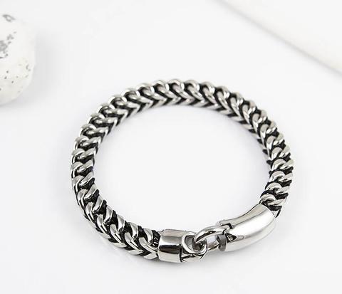 Мужской браслет цепь из стали и кожаного шнура (21 см)