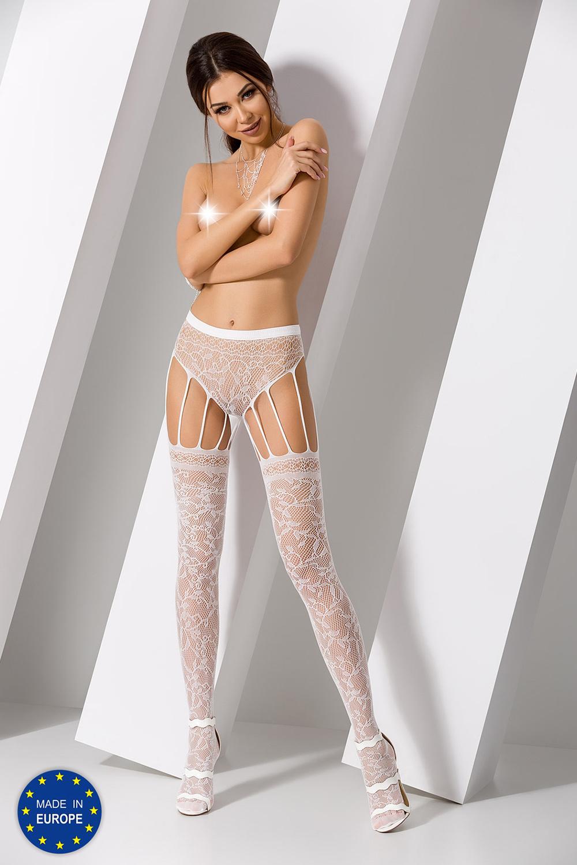 Белые чулки сетка с поясом с цветочным рисунком (Эротические чулки с поясом)