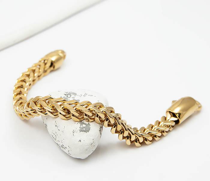 BM501-2 Мужской золотистый стальной браслет (21 см) фото 03