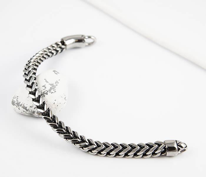 BM525-1 Мужской браслет цепь из стали и кожаного шнура (21 см) фото 02