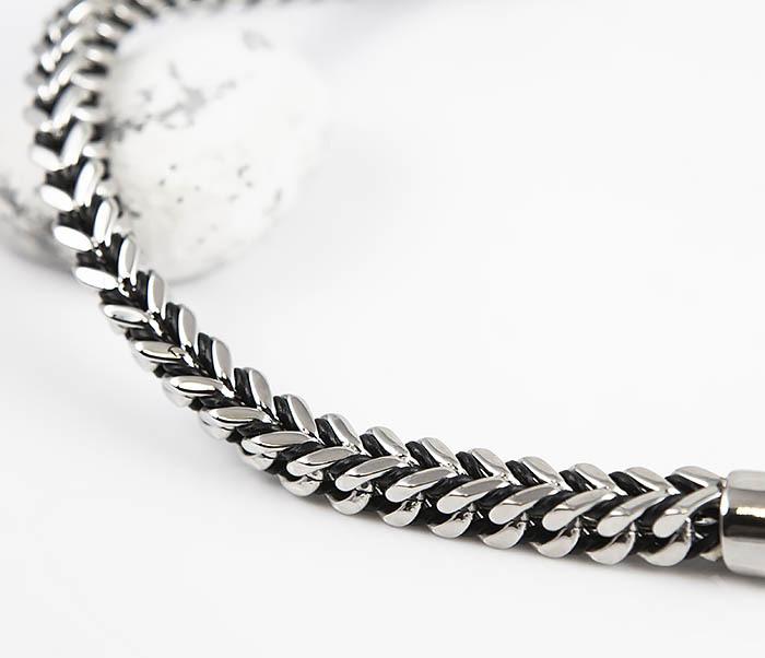 BM525-1 Мужской браслет цепь из стали и кожаного шнура (21 см) фото 03