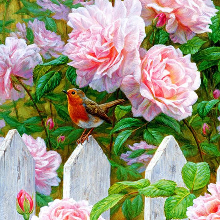 Картина раскраска по номерам 40x50 Нежно-розовые цветы у ...