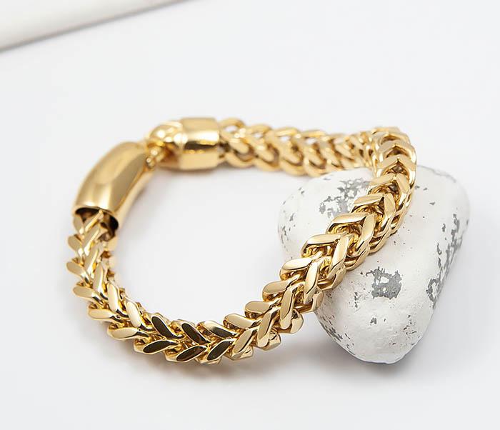 BM501-2 Мужской золотистый стальной браслет (21 см) фото 05