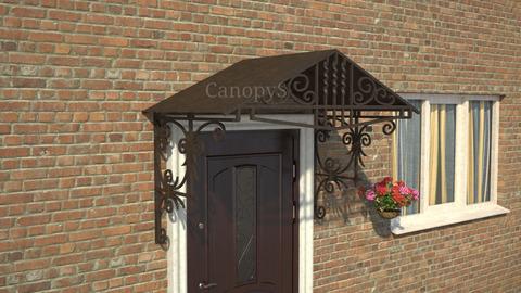 Кованый козырек №11 с металлическим листом  над дверью