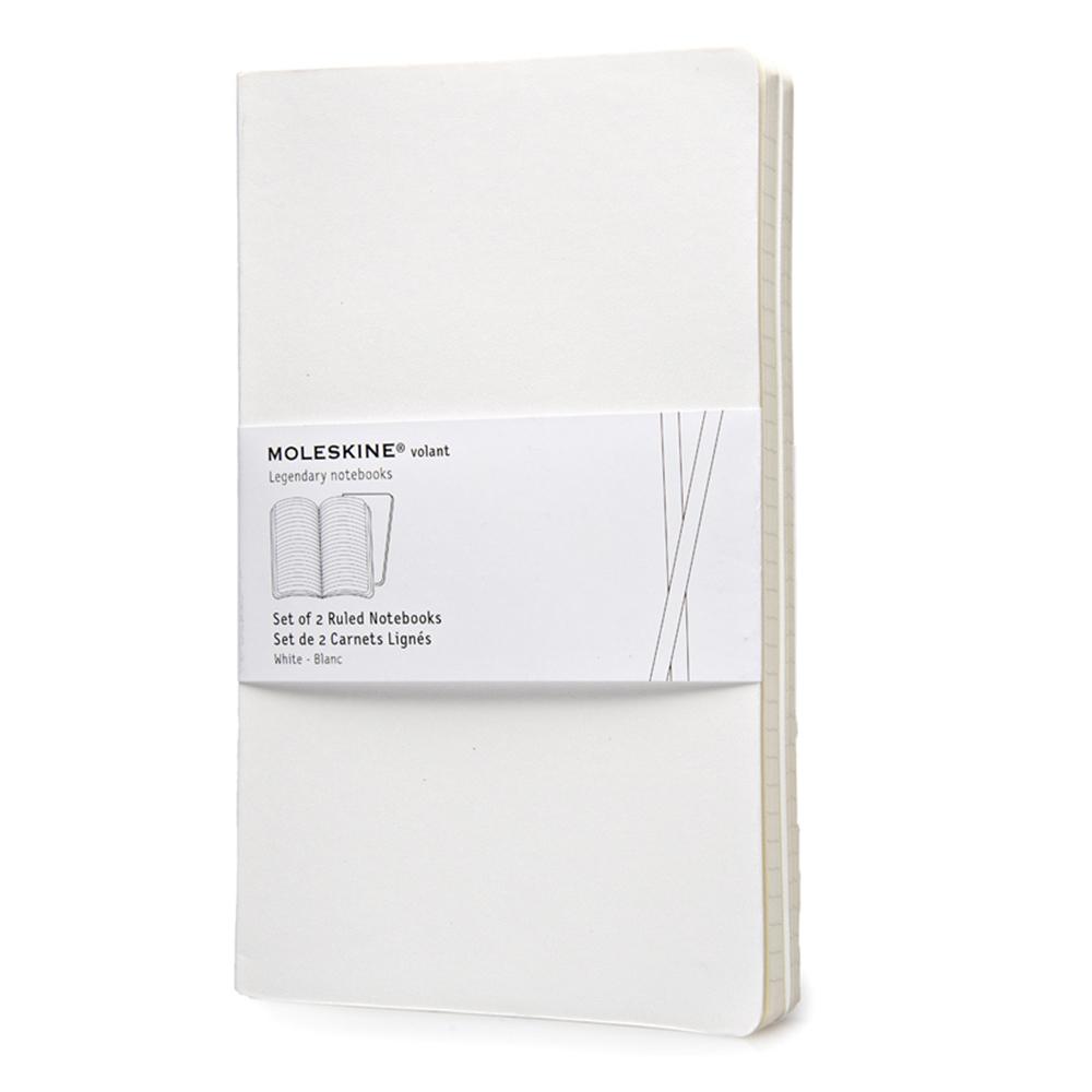 Набор 2 блокнота Moleskine Volant Large, цвет белый, в линейку 385330(QP721WH)