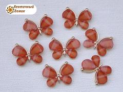 Декор Бабочки из камней оранжевые
