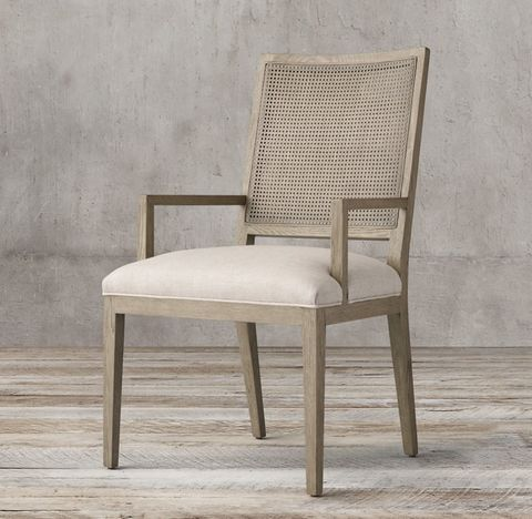 French Contemporary Square Cane Back Fabric Armchair