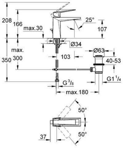 Смеситель для раковины Grohe Allure Brilliant 23029 000  схема
